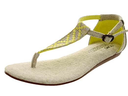 d3095c3c0a4b TOMS Womens Playa Sandal Yellow Burlap Vegan Size 6