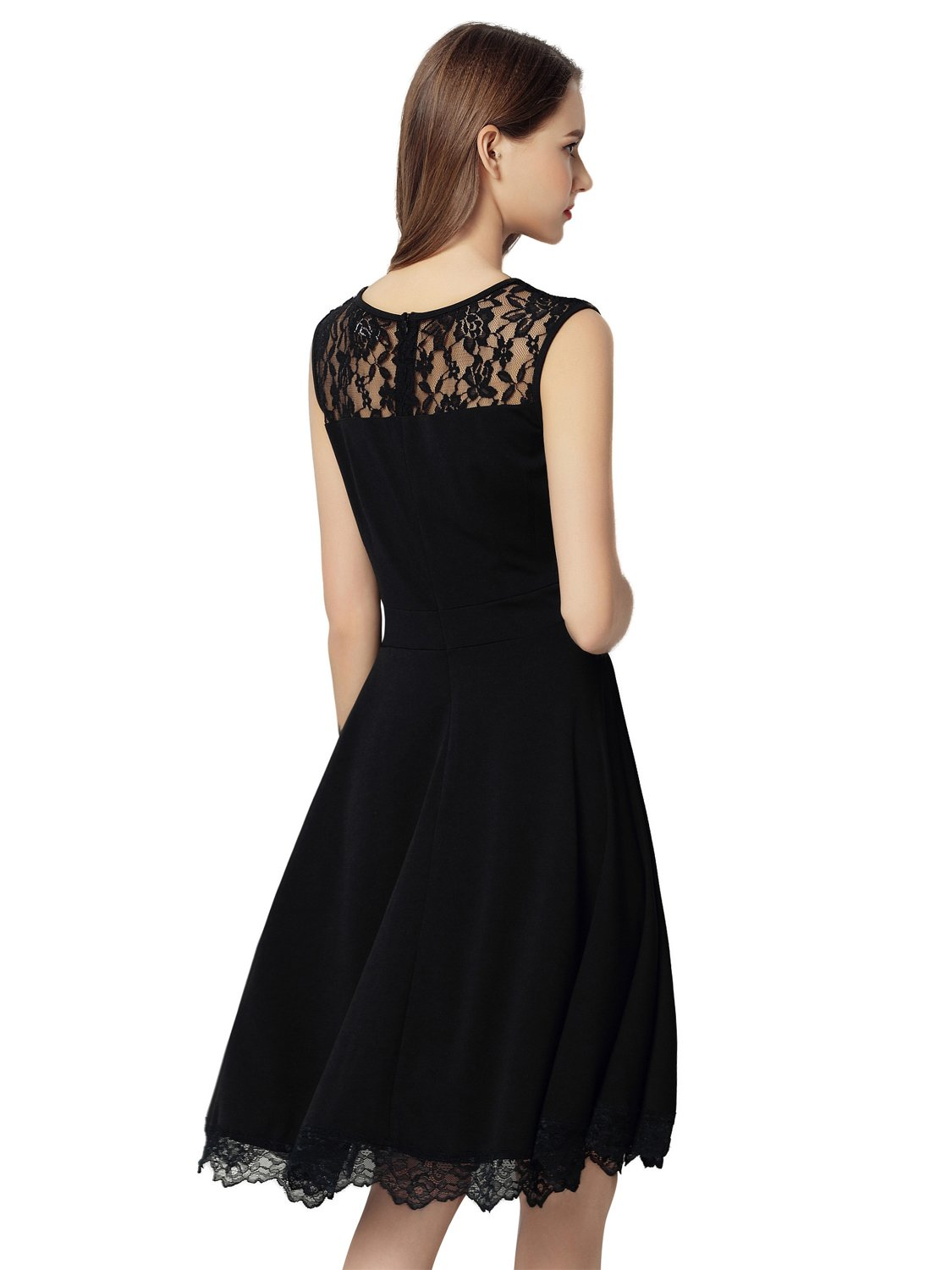 Dresms Women Sleeveless Lace Floral Elegant Cocktail Dress Crew Neck Knee Length (Black, Small) by Dresms (Image #2)