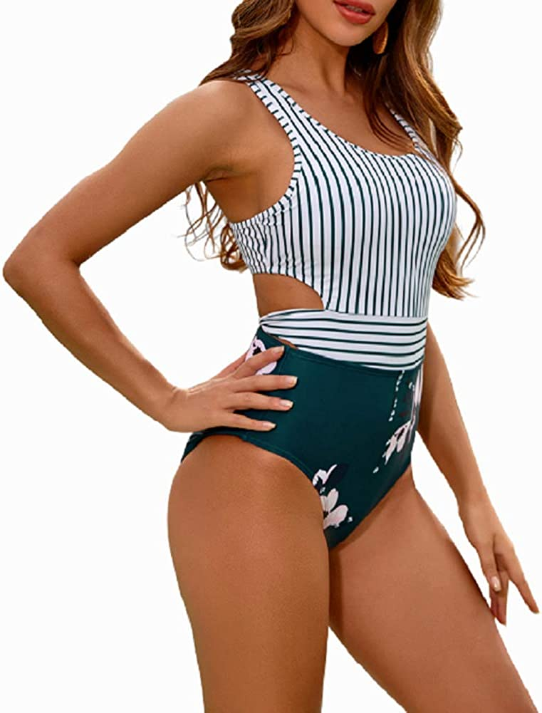 MOLYBELL One Piece Swimsuits for Women High Waisted Bathing Suit Monokini Floral Print Cutout Racerback Zip Up