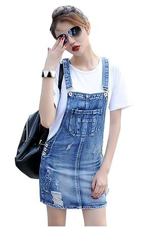 9674475b9 TOPJIN All Match Style Mini Bodycon Suspender Denim Skirt Jeans Overall  Dress Light Blue S