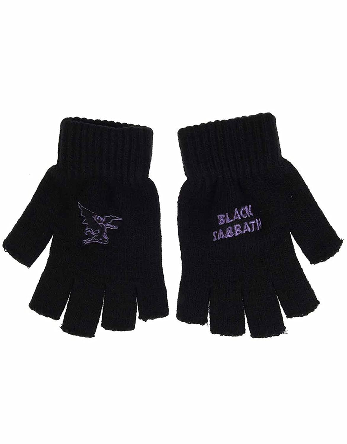 Black Sabbath Gloves Band Logo devil Official New Black Cotton Fingerless