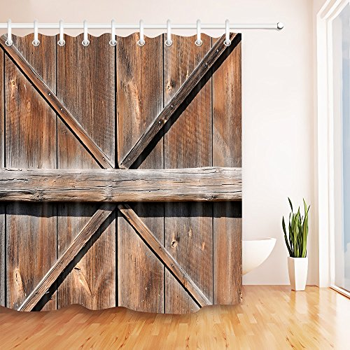 - LB Country Barn Door Shower Curtain for Bathroom, Old Rustic Western Farmhouse Cottage Vintage Wood Panel Plank Decor Bathtub Shower Stall Curtain, Water Proof Fabric Curtain, 70 x 70