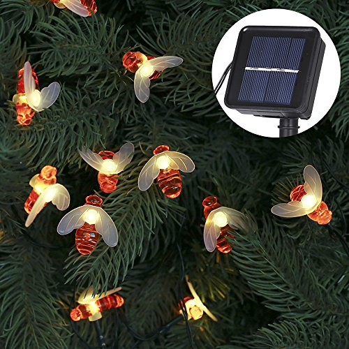 Tomshine Solar String Lights 30 LED Honeybee Outdoor Fairy Lights Solar-Powered Lights Garden Decor 8 Modes for Patio, Yard, Party, Wedding, Christmas(Warm White) (String A Bee On)