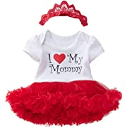 Detigee Outfit Tutu Lace Happy Mother Day Dress Baby Girls Skirt (Red,0-3 Months)
