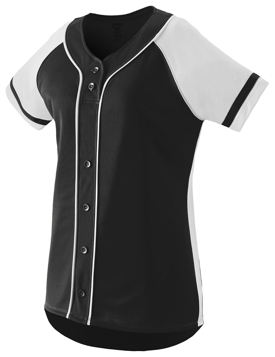 Augusta Sportswear Girls ' Winner Softball Jersey B01C5G6N3O Medium|ブラック/ホワイト ブラック/ホワイト Medium