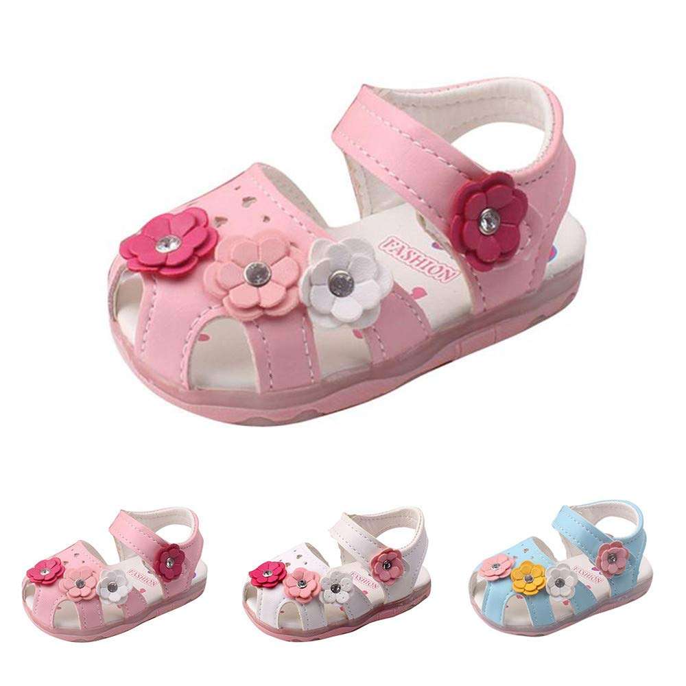 361b50b47 CATSAP Toddler Leather Flowers Girls Sandals Soft-Soled Luminous Princess Shoes  Non-Slip First Walker Shoes Summer (Pink