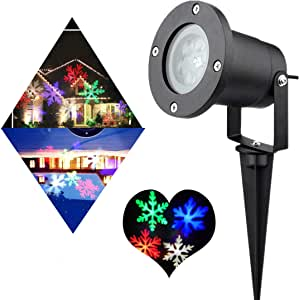 PEYING SOURCE Snowflake Projector Lights Garden Projector Lights Outdoor RGBW 12W Christmas Motion Snowflake Landscape Projector Holiday Decoration Waterproof LED Stage Lights for Home Garden(RGBW)