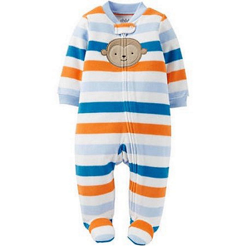 1bf2a70ec Cartr s Baby Boy s 6-9 Months Striped Moneky Fleece Pajama Sleeper ...