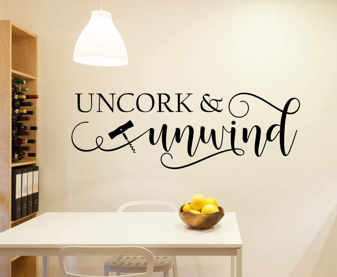 Tamengi Uncork and Unwind, Wine Wall Decal, Uncork Unwind, Wine Decal - Mural Wall Decal Sticker for Home Decor Children's Bedroom, Car & Laptop 50