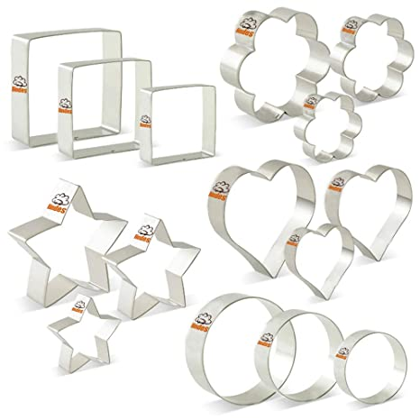 Juego de cortadores de galletas de 15 - Flores, corazones, estrellas, círculos y