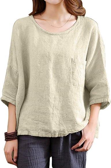 Camiseta De Lino Mujer Suelta Estilo De Simple Jersey para ...