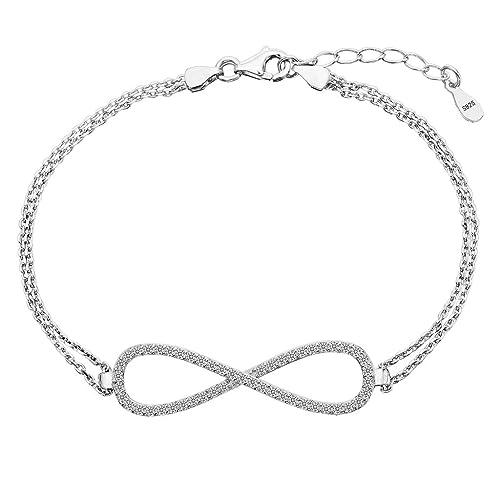 Clearine Damen 925 Sterling Silber Hochzeit Braut Cubic Zirconia Unendlichkeit Inspiriert Armkette K...