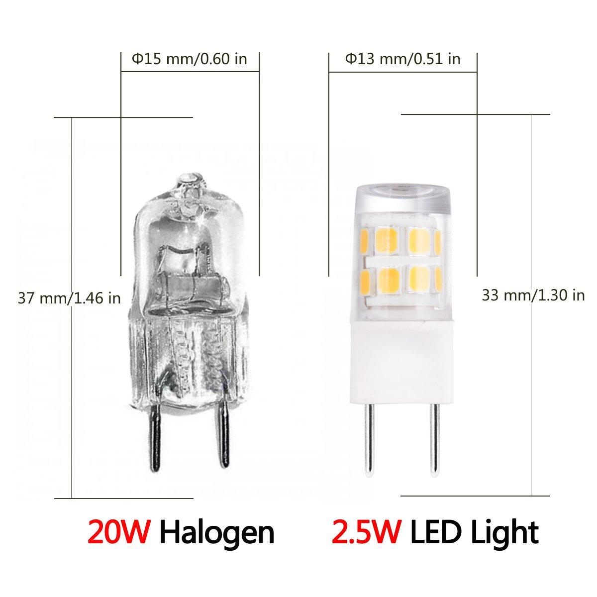 5 Pack Soft White 3000K JandCase G8 LED Light Bulbs 20W Halogen Equivalent 200LM 2.5W G8 Base Bulbs for Counter
