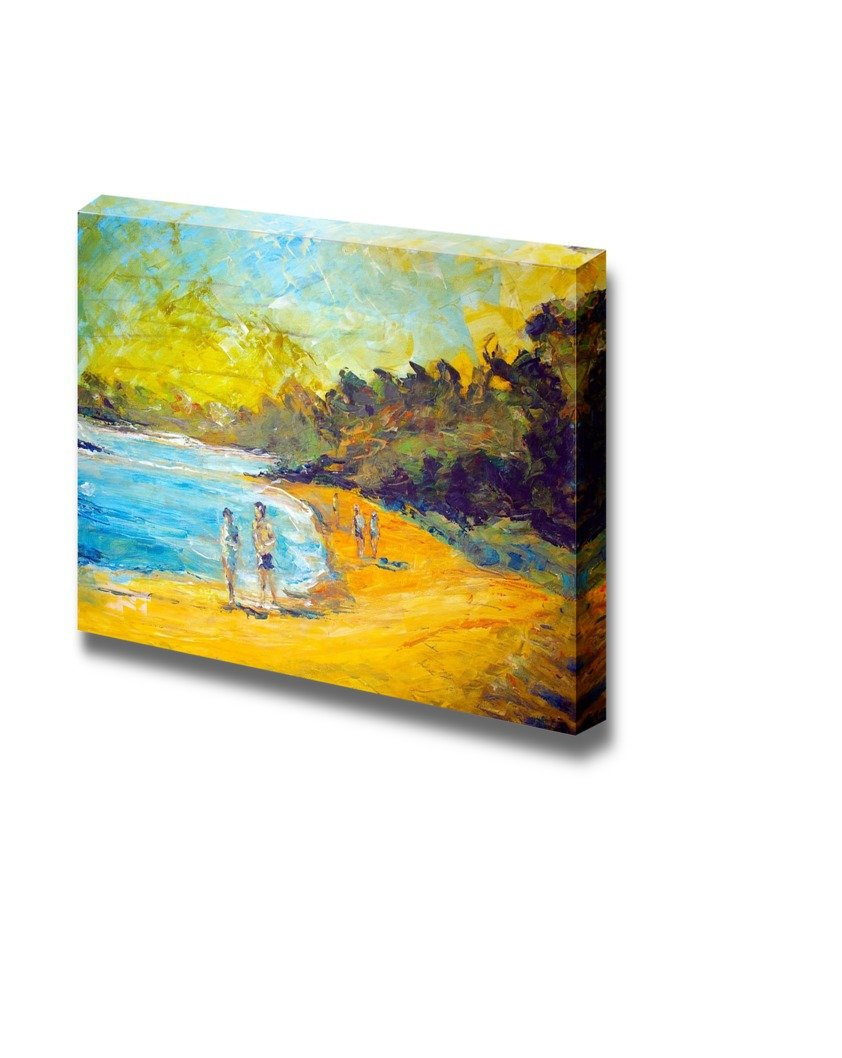People Walking on the Beach in Oil Painting Style Wall Decor ...