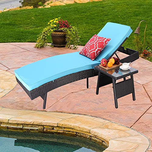 Do4U Outdoor Pool Garden Patio Chaise Lounge Recliner Bed, Easy to Assemble, Exp Rattan with Turquoise Cushion -1 Pc Chaise Lounge with 1 Table with Glass
