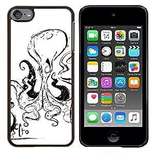 Caucho caso de Shell duro de la cubierta de accesorios de protecci¨®n BY RAYDREAMMM - Apple iPod Touch 6 6th Touch6 - Pulpo Negro Mar Blanco Criatura