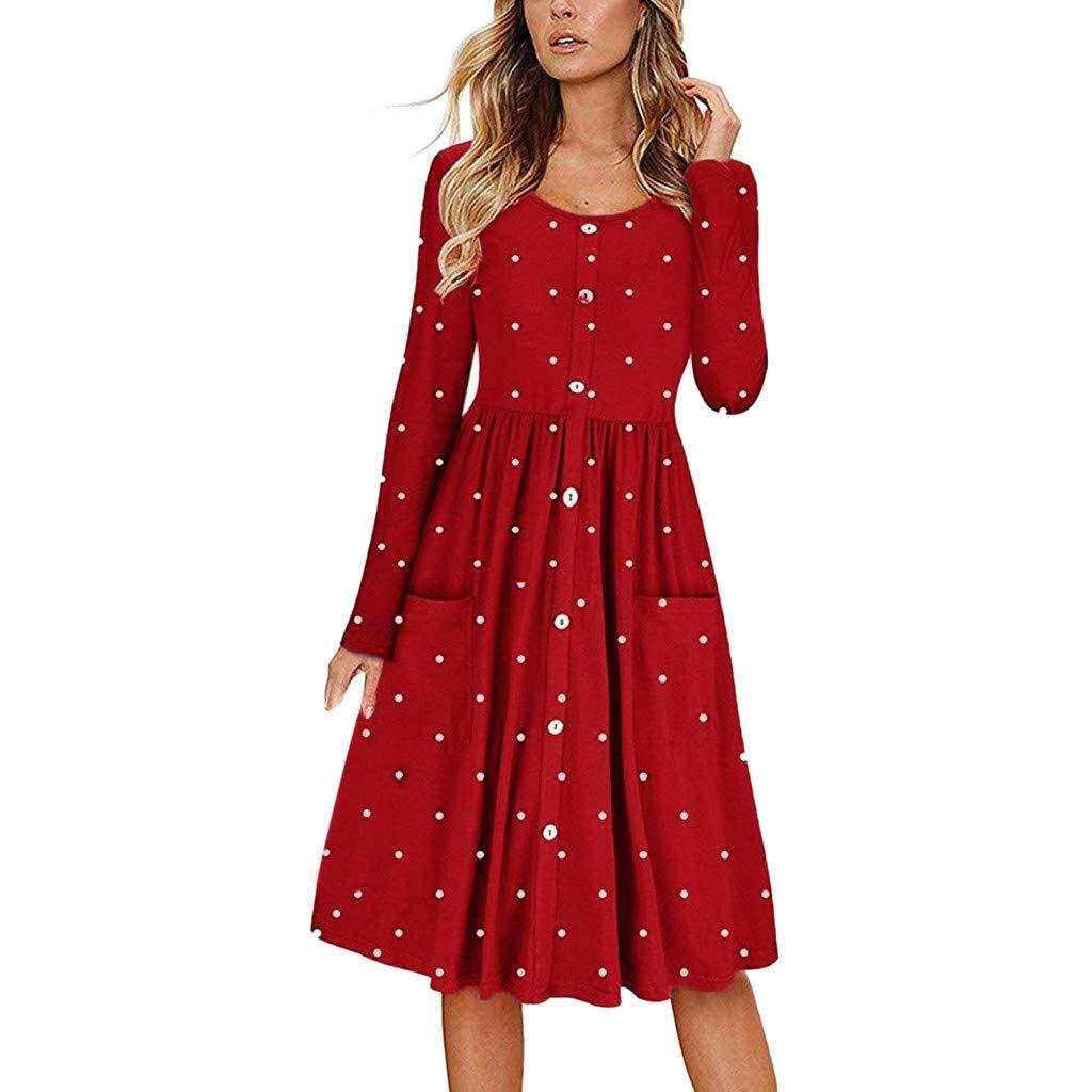 Kirbyates Women's Casual Elengant Dot O Neck Button Dress Long Sleeve Pocket Casual Beach Long Maxi Dress Red