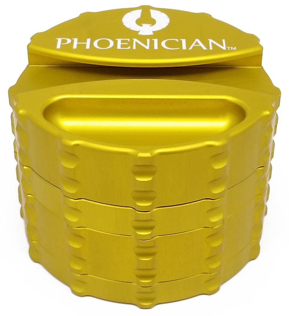 Phoenician Herbal Grinder - Large 4 Piece w/ Papers Holder - Yellow with 2 Rolling Paper Depot Kewltubes