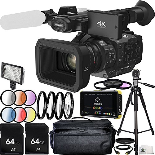 Panasonic HC-X1 4K Ultra HD Professional Camcorder with Atomos Shogun Flame 7'' 4K HDMI/12-SDI Recording Monitor 64GB Bundle 21PC Accessory Kit. Includes 2 64GB Memory Cards + MORE by SSE