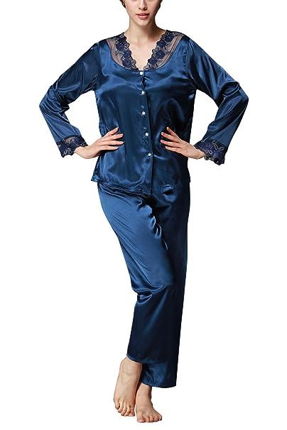 Dolamen Pijamas para mujer, Mujer Satin camisones Pijamas Raso, Bordado de flores de encaje