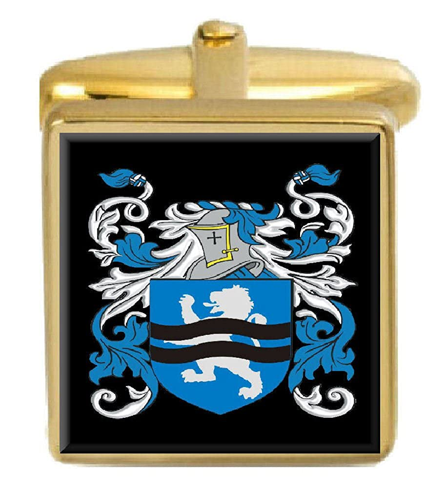 Select Gifts Macelwee Ireland Family Crest Surname Coat Of Arms Gold Cufflinks Engraved Box