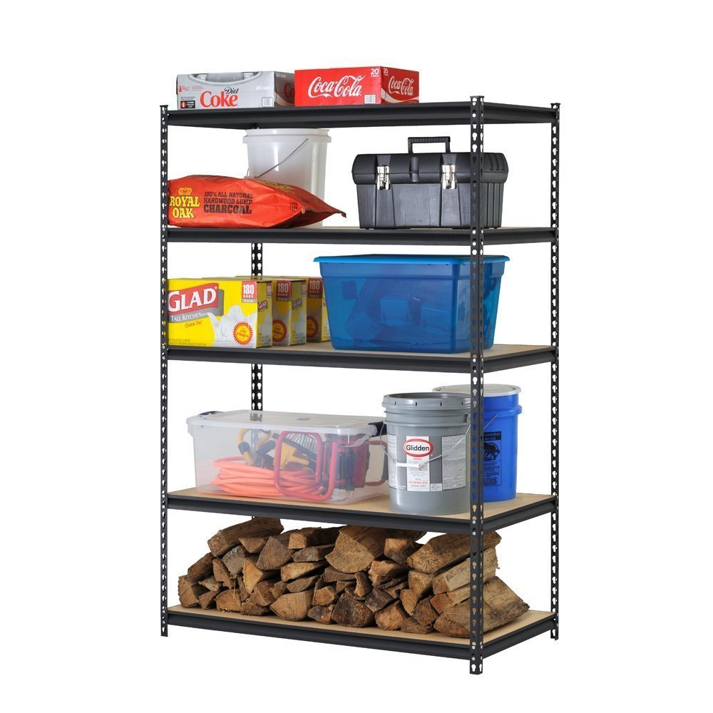 Edsal UR1848AZ-BLK Steel Storage Rack, 5 Adjustable Shelves with Post Couplers and Plastic End Caps, 4000 lb. Capacity, 72'' Height x 48'' Width x 18'' Depth, Black (Pack of 2)