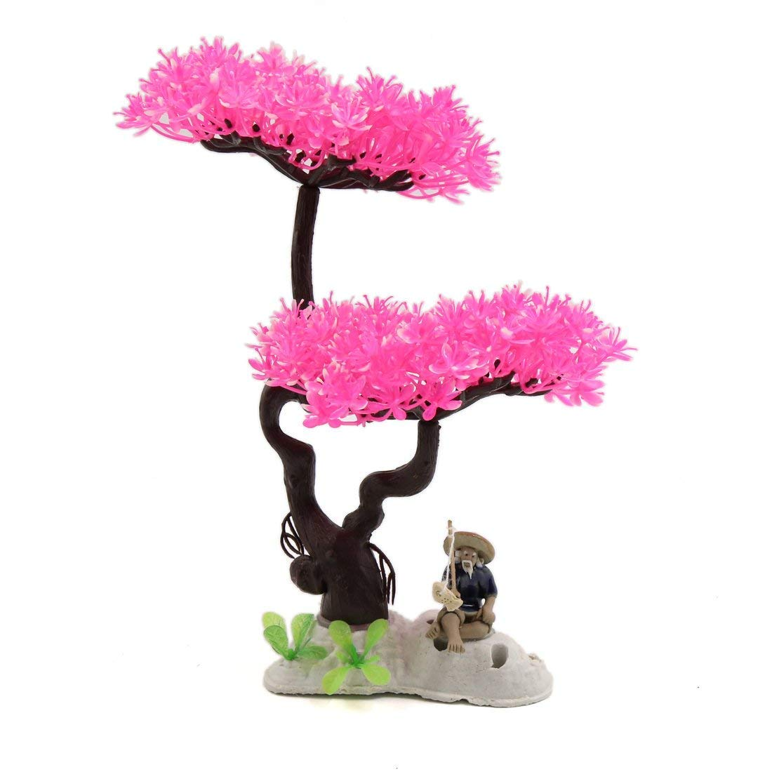 1Pc Pink Plastic Flowers Tree Aquarium Fish Tank Landscape Decor w Ceramic Base