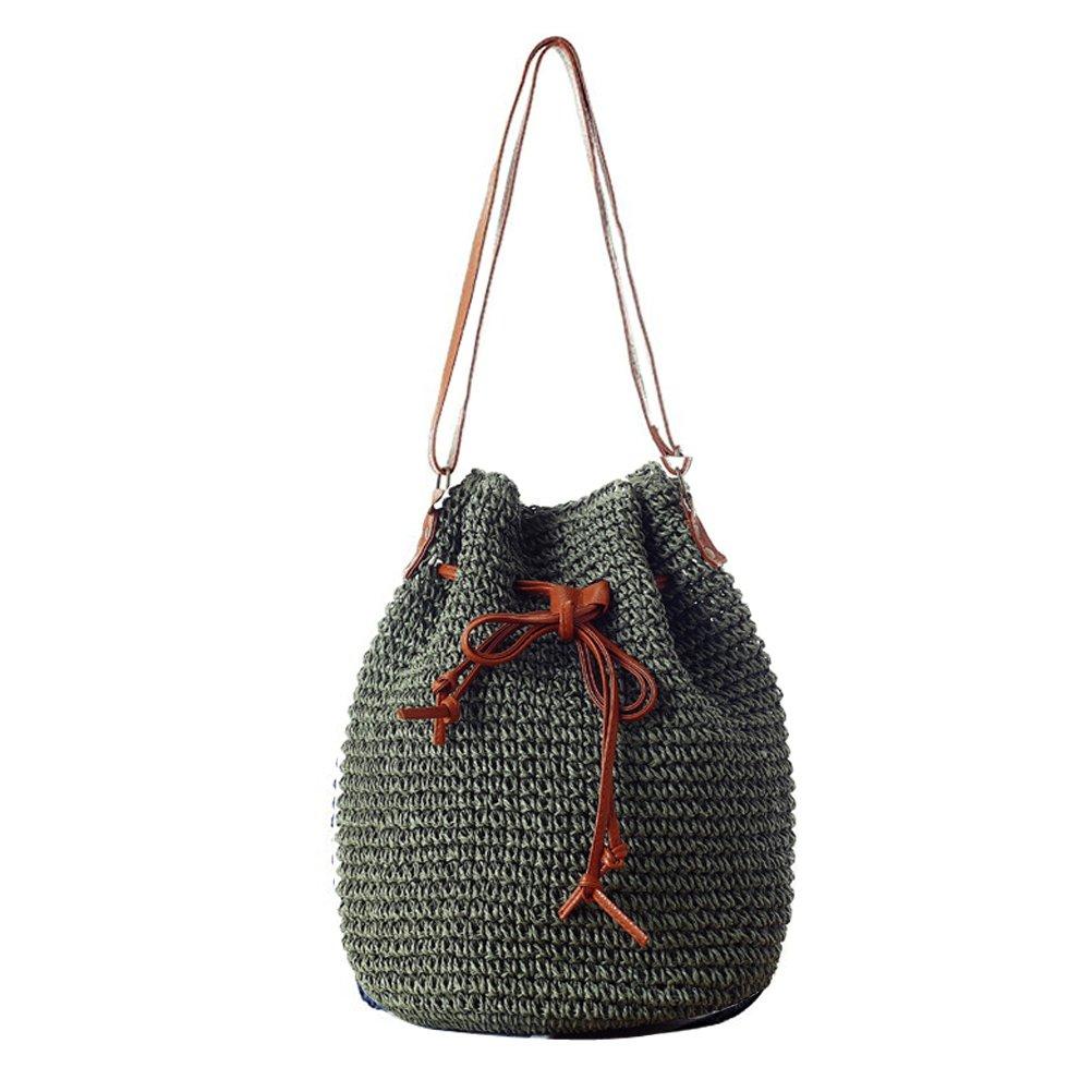 Donalworld Women Bucket Bag Drawstring Hobo Crochet Straw Shoulder Bag L Army