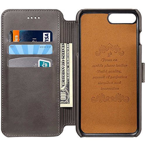 Price comparison product image Leather Wallet Phone Case with Flap Cover (Stand View Case) for iPhone 6 / 6S / iPhone 6 Plus / 6S Plus / iPhone 7 / 7 Plus