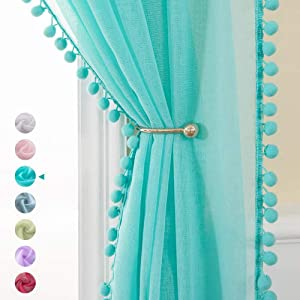 MIULEE 2 PCs 84 Inches Length Linen Textured Sheer Curtains with Pom Pom Tasseled for Bedroom Voile Semi-Sheer Window Curtains for Light Filtering (54 X 84,Turquoise)