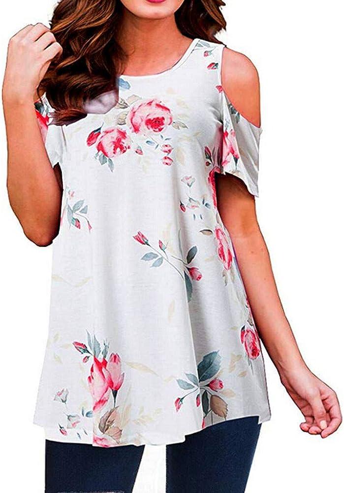 Qingsiy Camisetas Tops Mujeres Las Señoras De Gran Tamaño De La Manga del Hombro De Manga Corta Camisa con Estampado De Floral Mujer Camisa Casual Tops Blusa Hollow out Camiseta Floral(Blanco, S):