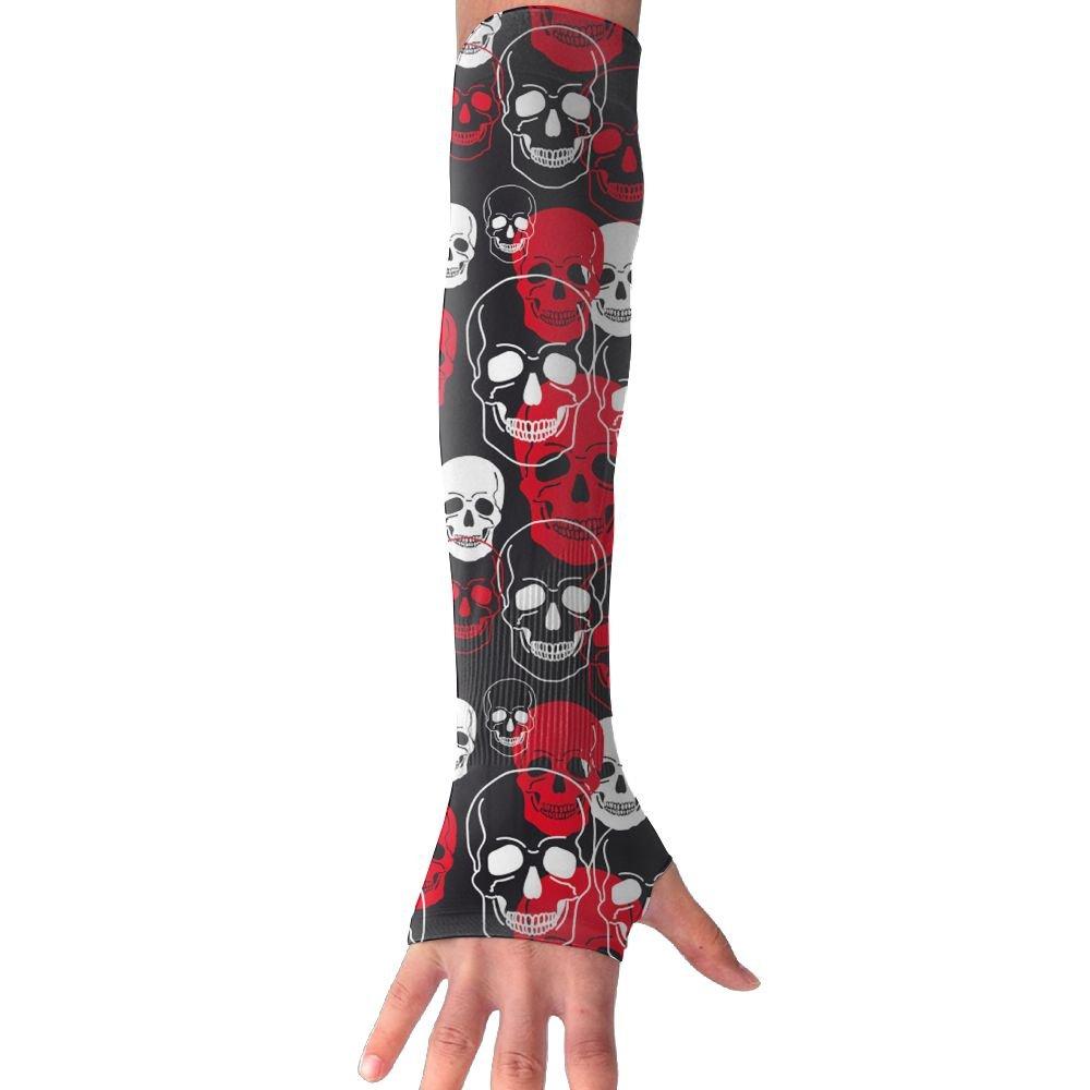 Unisex Red White Skulls Sunscreen Outdoor Travel Arm Warmer Long Sleeves Glove