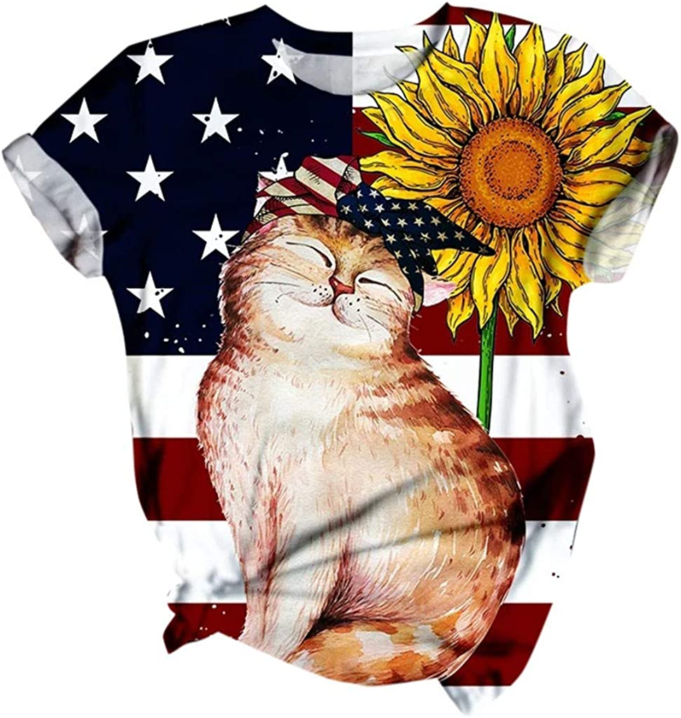 Womens Short Sleeve Tops Summer Cute Cat Kitty Pattern T-Shirt Casual Loose Floral Graphic Top for Lady Club Party Personalised Tee Funny 3D Animal Print T Shirt Plus Size