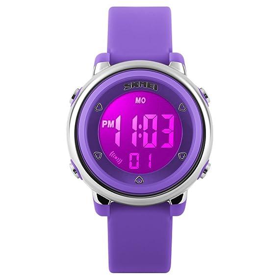 Relojes Deportivos para Niños Niña Juvenil Digitales LED de 7 Colores Redondos Silicona 5 ATM Water Resistant Alarma Deportivo Futbol: Amazon.es: Relojes