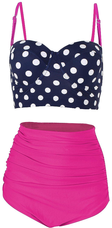 FeelinGirl Retro 50s Floral Halter High Waist Swimsuit Bathing Suits Bikini LB16929