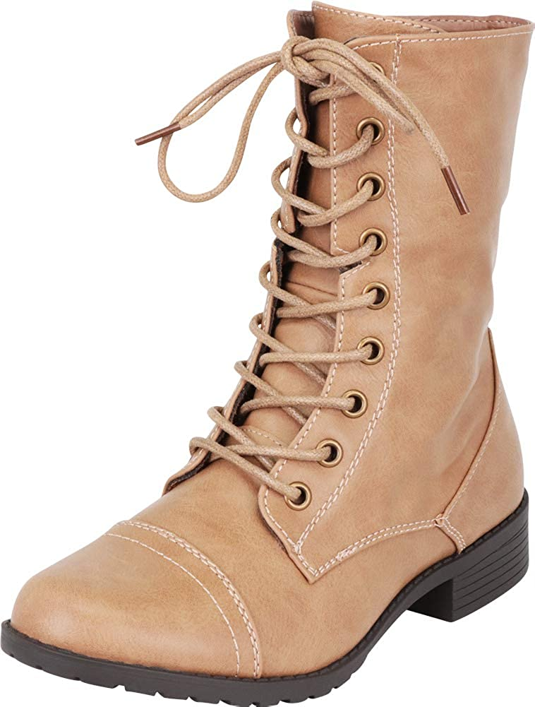 Taupe Pu Cambridge Select Women's Classic 90s Lace-Up Chunky Lug Sole Combat Boot
