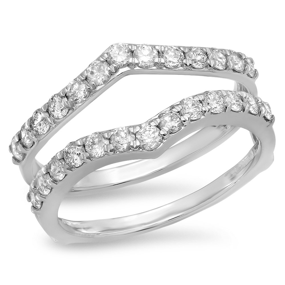0.95 Carat (ctw) 14K White Gold Round Diamond Ladies Wedding Enhancer Guard Double Ring 1 CT (Size 5.5)