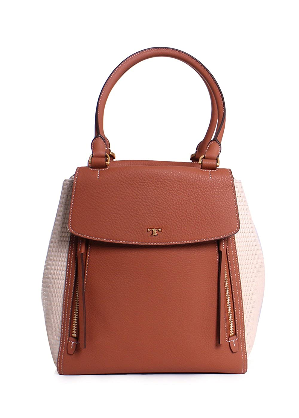 2b077a52c453 Amazon.com  Tory Burch Half Moon Straw Leather Tote Handbag in Natural  Classic  Clothing