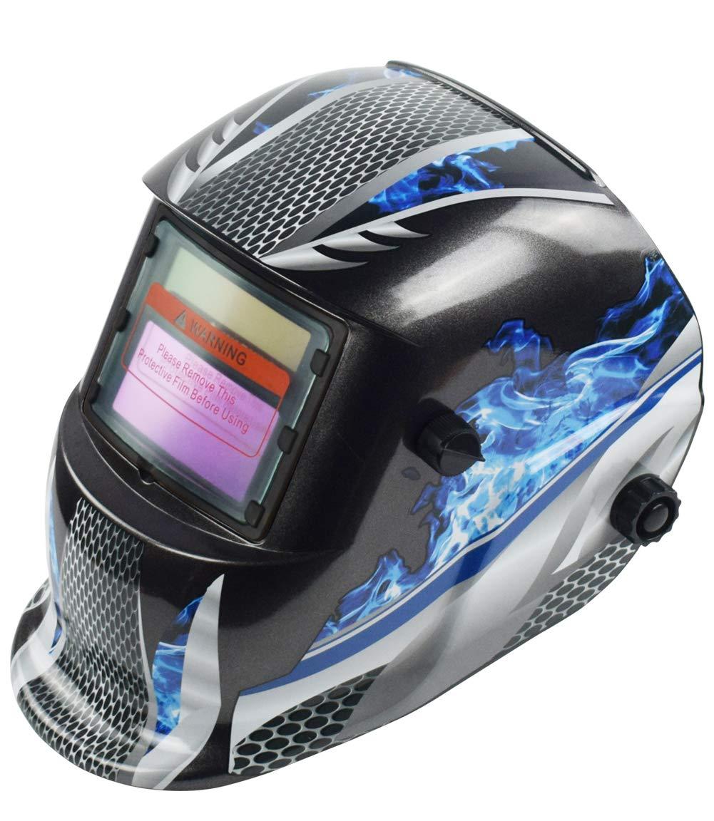 Bibowa Full Face Welding Mask Auto Darkening Welding Helmet Head Protection For Tig Mig Arc Weld Grinding Blue