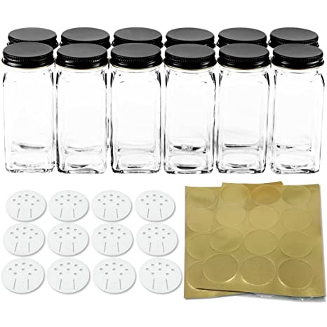 amazon com 12 square glass spice bottles 4 oz spice jars with black