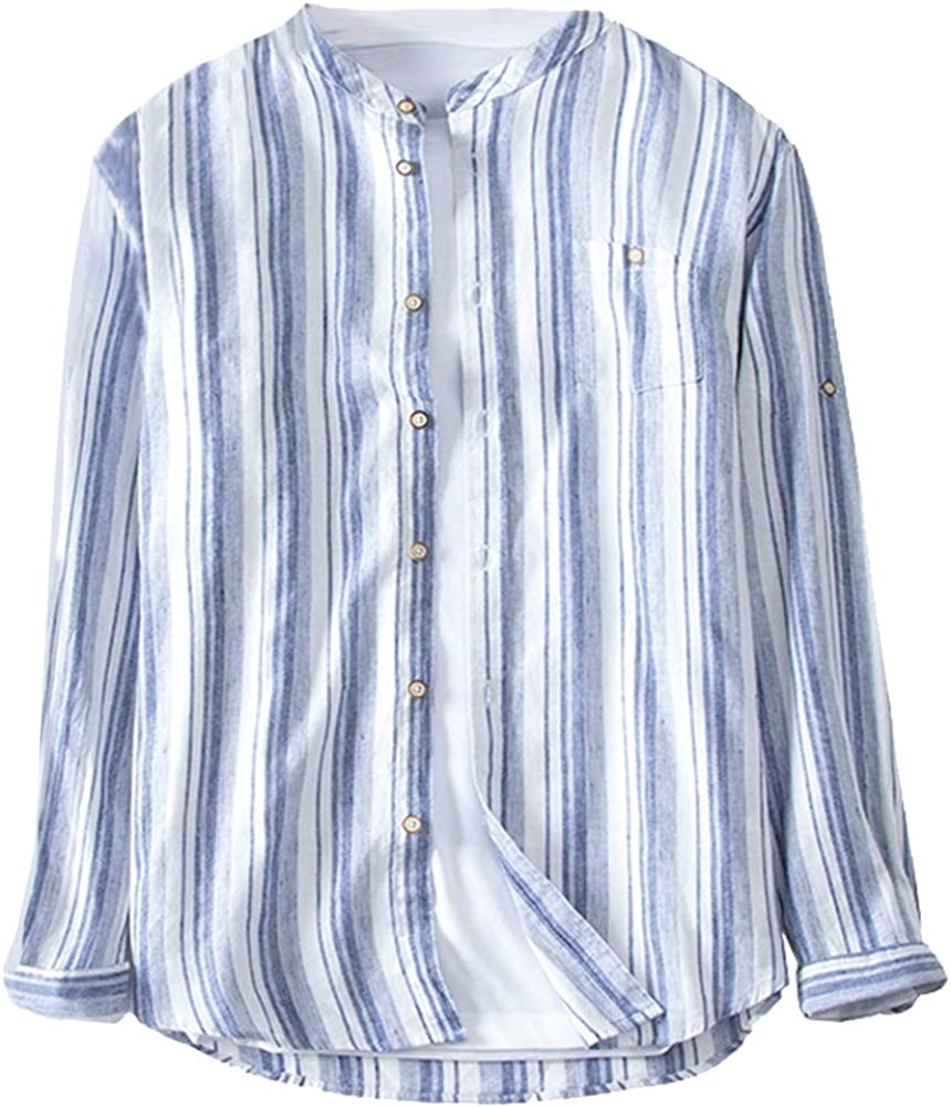 SK Studio Mens Long-Sleeve Striped Casual Linen Single Pocket Shirt