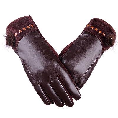 Automne et hiver PU écran tactile Mesdames gants lavés gants en cuir plus velours épaisse cheveux boule mode conduite gants d'extérieur