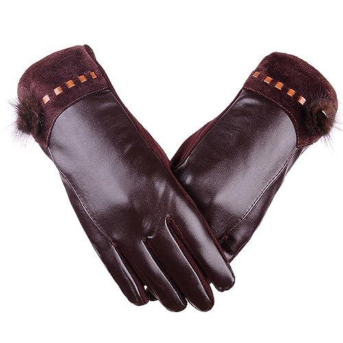Otoño e invierno PU pantalla táctil señoras guantes guantes de cuero lavados más terciopelo de pelo ...