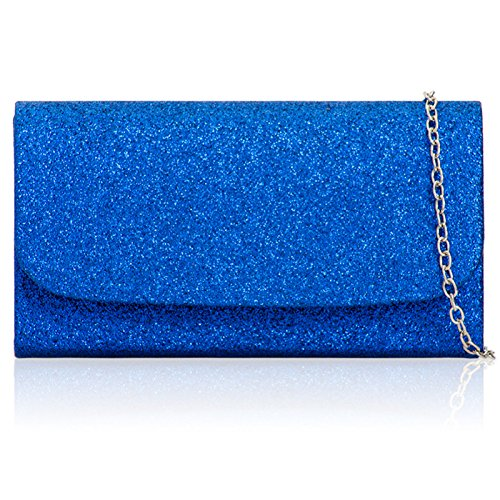 Women Strap Clutch Medium Evening Glitter Xardi Sparkling Bridal Handheld For London Sequins Chain Fabric with Blue in Bags Detachable Royal Sizes Ladies Small w8wvRZ