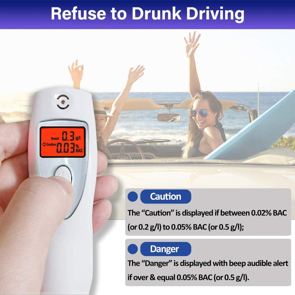 Kilvanator Alcol Test Etilometro Portatile Certificato con Allarme Acustico Etilometro con Schermo LCD per Conducenti o Uso Domestico 0.00/% -0.19/% BAC Range 0.0-1.9g//l