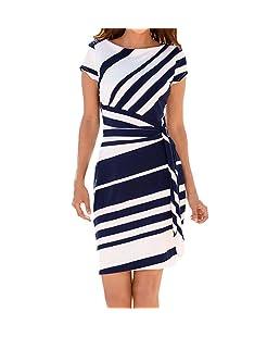 Kolylong 2018 été Les Robes de Travail des Femmes, Simple Slim Robes rayée de Crayon Manches Courtes de Cocktail soirée Fête FéMinine Party Dress (Bleu, M-FR 38)