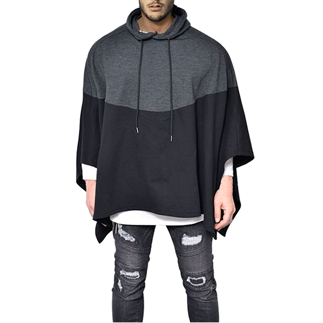 Mens Irregular Loose Bat Sleeves Oversized Plus Size Hooded Poncho Cloaks Casual Pullover Hoodie Cape Coat Tops (US Medium(Tag L))