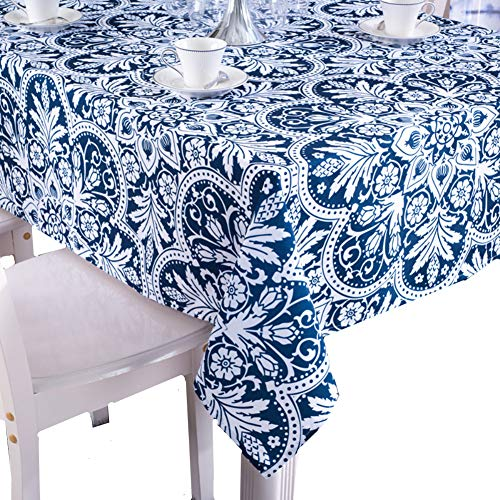 - Kingmerlina Cotton Linen Polyester Rectangle Fresh Pastoralism Kitchen Tablecloth Picnic Cloth (Navy/White,55