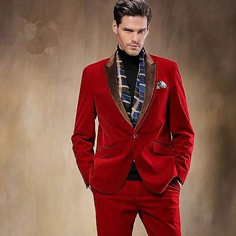 GFRBJK Rojo Formal Traje de Noche Hombre Blazer Traje de ...