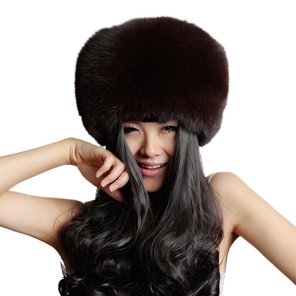 Fur Story 13609 Women's Real Fox Fur or Raccoon Fur Beanie Hat Brown